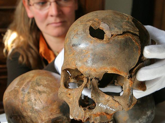 Schädel, die auf dem Schlachtfeld gefunden wurden