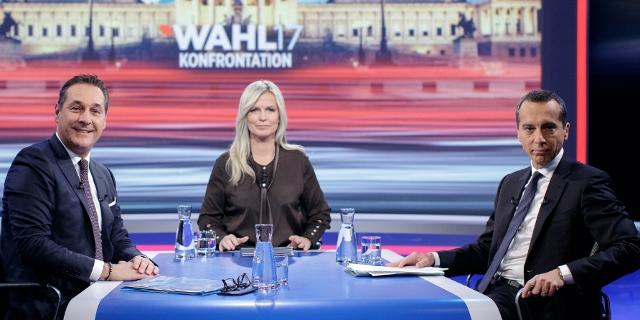 Foto aus der Wahlkonfrontation Kern gegen Strache