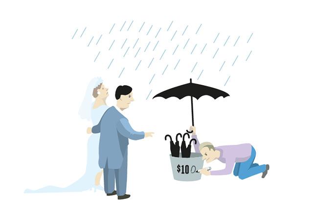 Cartoon: Brautpaar versucht bei Regen einen (zu teuren) Schirm zu kaufen