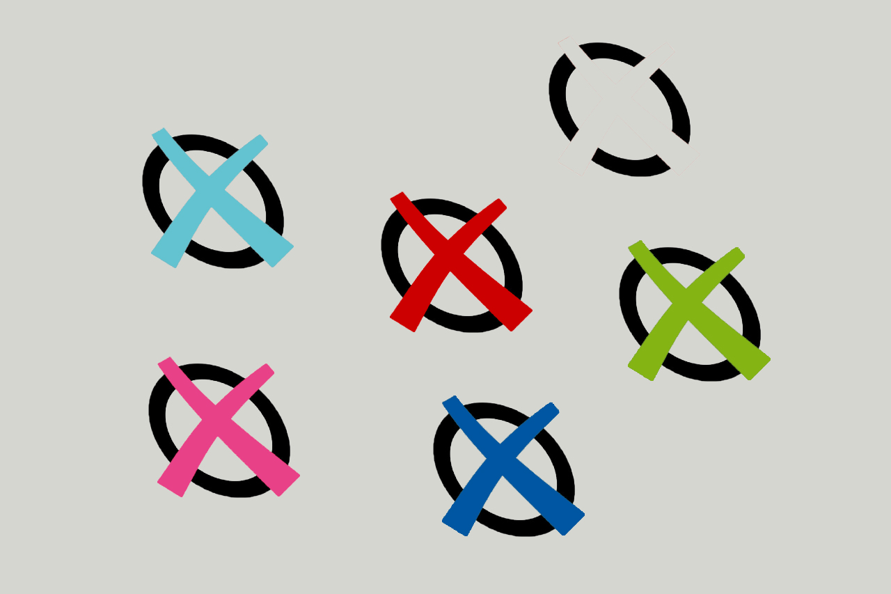 Wahlkreuzerl in verschiedenen Farben