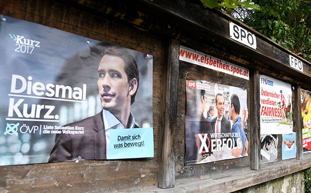 Wahlplakate von zur bevorstehenden Nationalratswahl