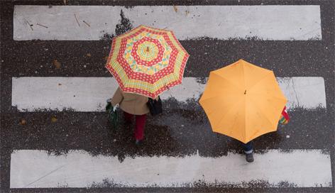 Zebrastreifen, Schutzweg, Regenschirm