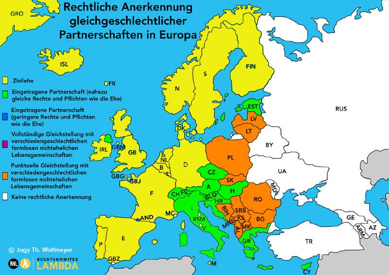 rechtliche Anerkennung gleichgeschlechtlicher Partnerschaften in Europa