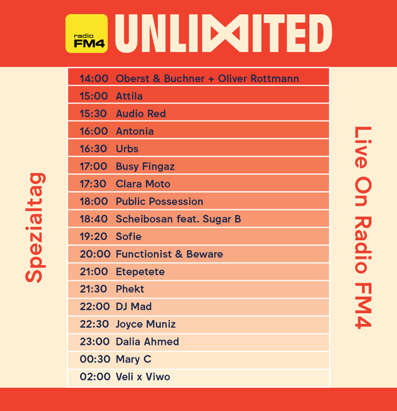 Radio-Timetable für FM4 Unlimited im Prater