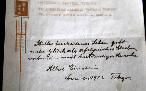 Handschriftliche Sinnsprüche von Albert Einstein