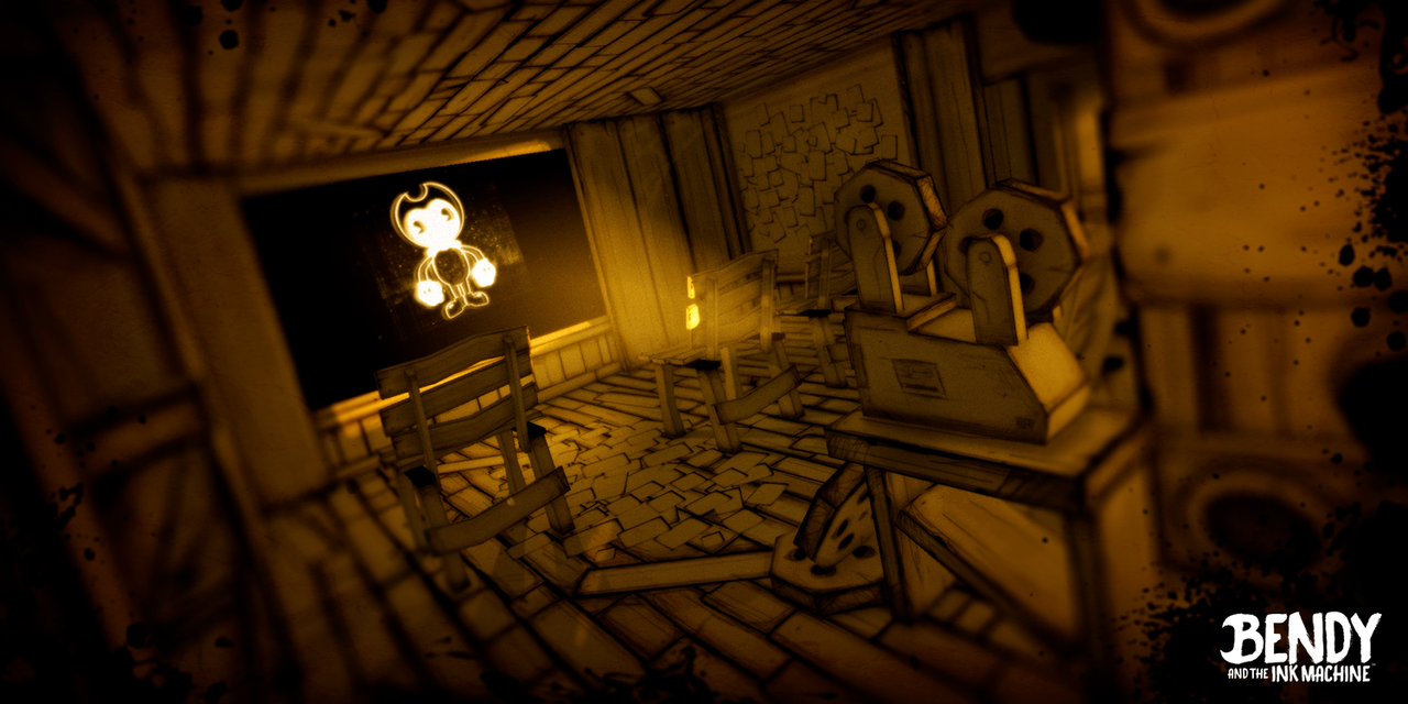 "Screenshot aus ""Bendy and The Ink Machine"""