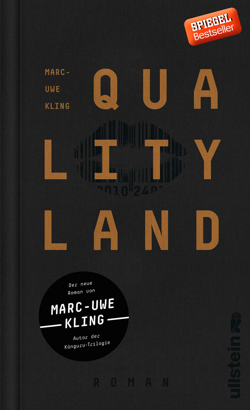 """Das schwarze Buchcover von Marc-Uwe Klings """"Quality Land"""""""