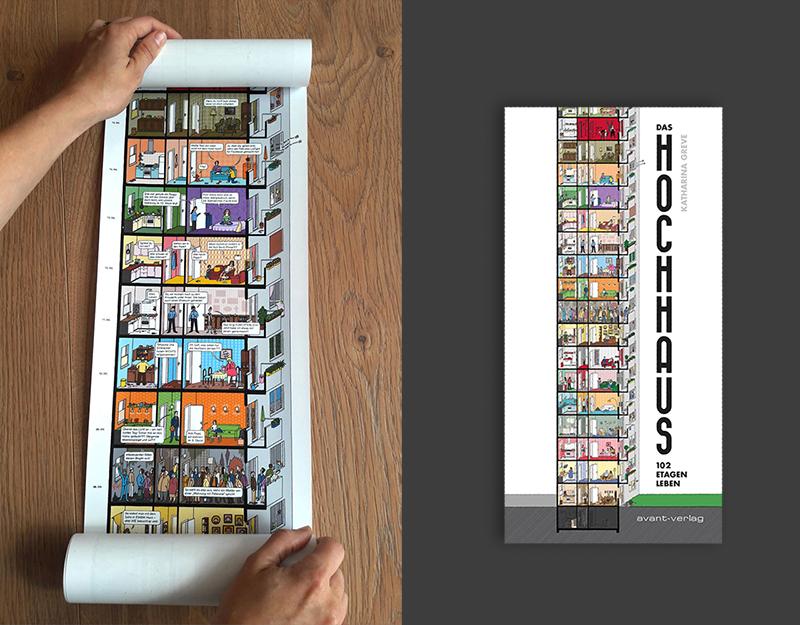 Buchrolle und Buchcover mit Hochhaus