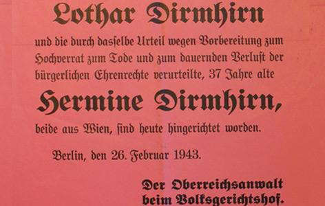 """Hinrichtungsplakat des Ehepaars Dirmhirn, das wegen """"Wehrkraftzersetzung"""" verurteilt wurde; es wurde nach ihrer Hinrichtung in der Wohngegend der Dirmhirns in Wien-Ottakring plakatiert"""