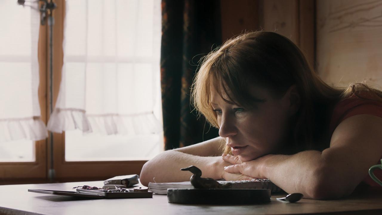 """Filmstill aus dem Film """"Tiere"""": Birgit Minichmayr legt den Kompf auf dem Schreibtisch ab und schaut nachdenklich"""