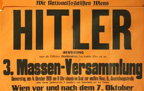 Aufruf zu einer Veranstaltung am 4.10.1928 im Saal zur weißen Rose in der Ausstellungsstraße im 2. Wiener Bezirk.