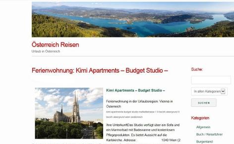 Inserat von Kimi Apatzments auf Österreich Reisen
