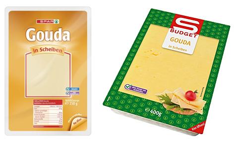 Die betroffenen Gouda-Produkte von S-Budget und Spar