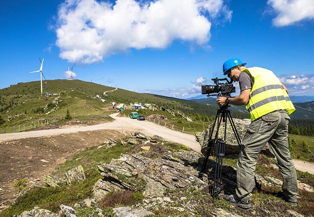 Dreharbeiten im Windpark Handalm in der Steiermark