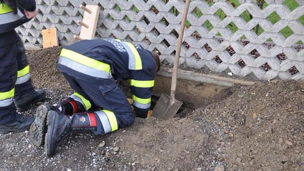 Feuerwehr, Hund in Rohr