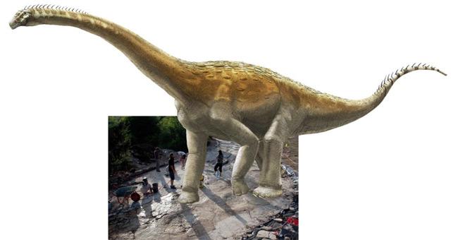 Künstlerische Darstellung des Dinosauriers neben seinen Spuren