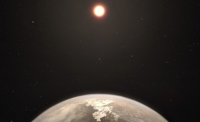 Künstlerische Darstellung: Planet bei Zwergstern