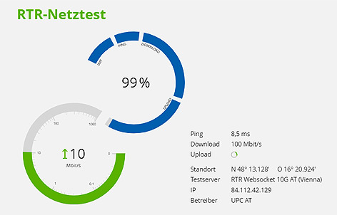 Screenshot des RTR-Netztests