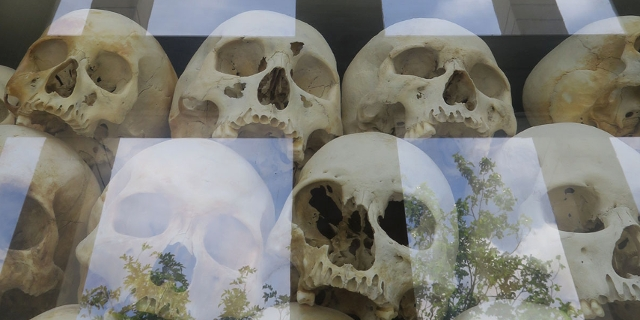 Totenschädel bei den Killing Fields