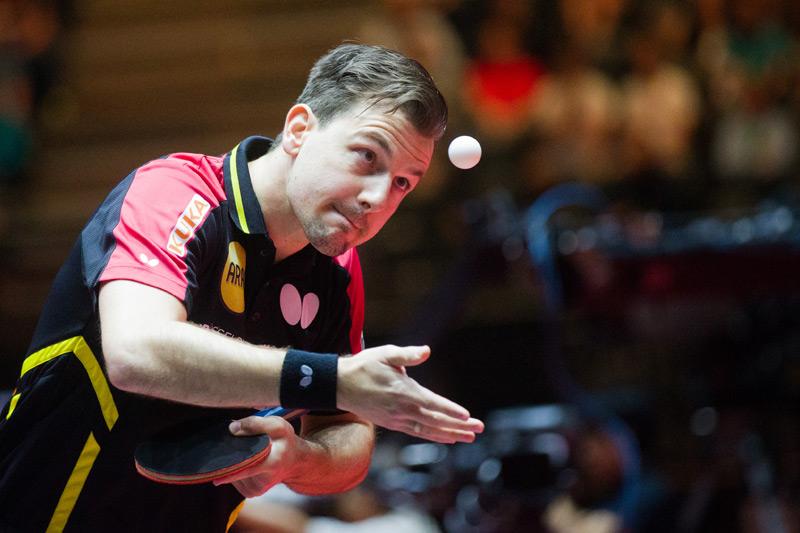 der linkshändige Tischtennisspieler Timo Boll