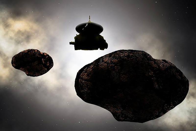 Künstlerische Darstellung von 2014 MU69, wahrscheinlich ein Doppelobjekt, und von New Horizons