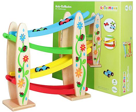 Holz-Rollbahn mit 3 Rollfahrzeugen von SpielMaus Holz