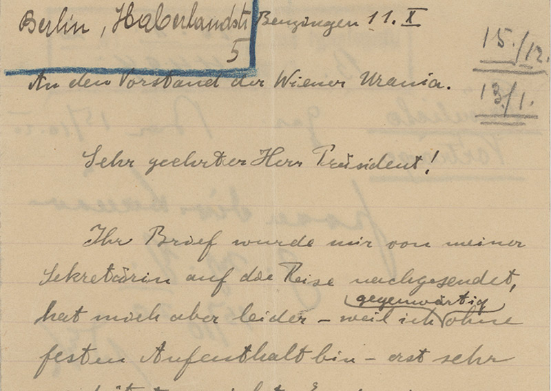 Handschriftlicher Brief Einsteins