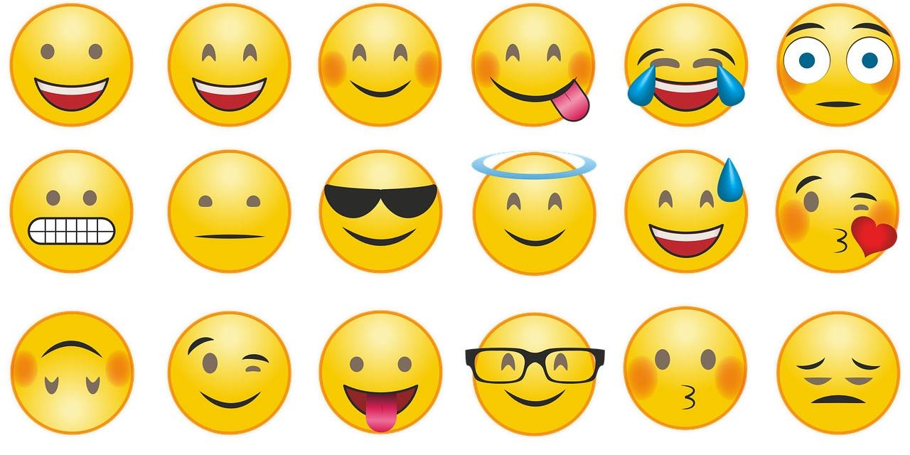 Emojis auf weißem Hintergrund