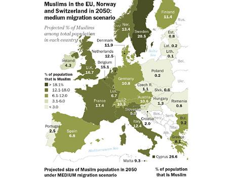 Grafik zur Entwicklung der muslimischen Bevölkerung in Europa