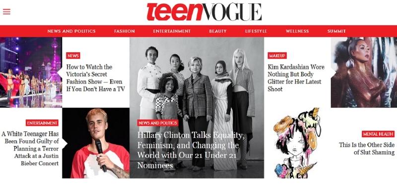 Die Titelseite des Internetauftritts der TeenVogue