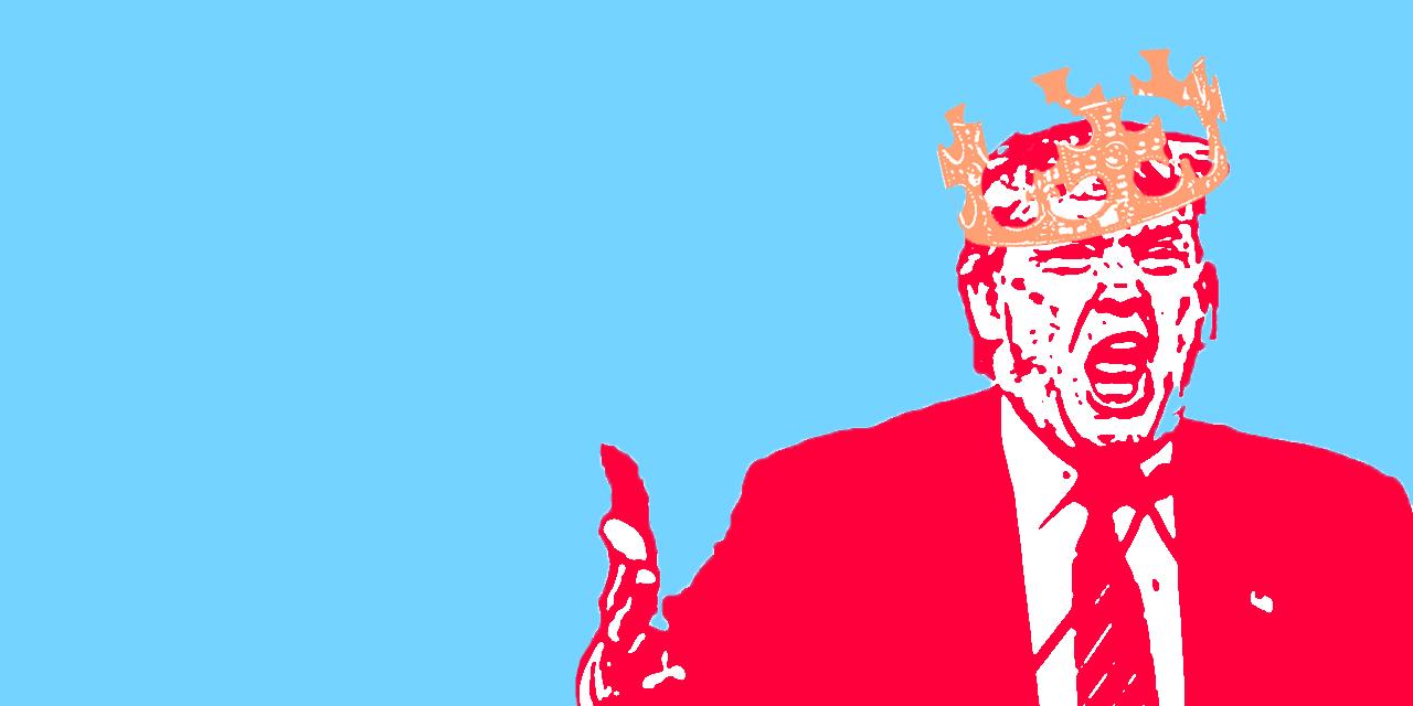 Donald Trump in zweifarbigem Comic-Stil mit Mittelalter-Krone