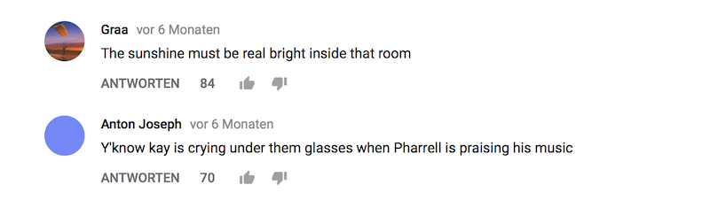 Screenshot / YouTube Kommentare unter Video Interview mit Pharrell Williams und Kaytranada