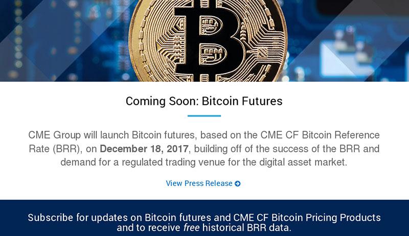 Ankündigung des Bitcoin Börsengangs bei CME