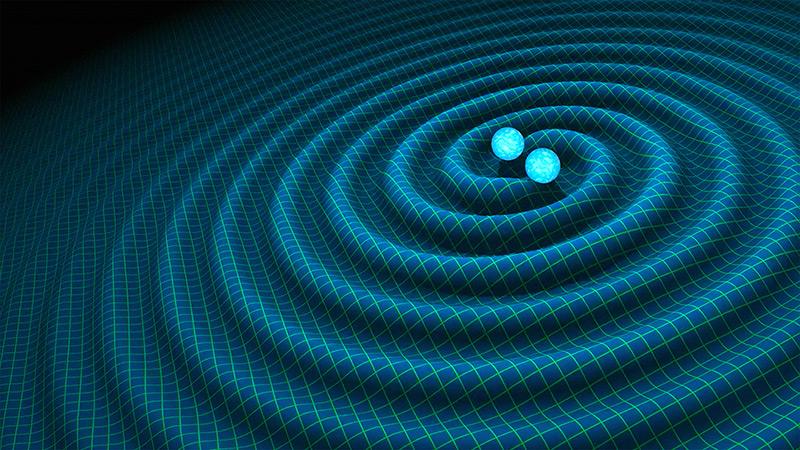 Künstlerische Darstellung: Gravitationswellen im Weltall