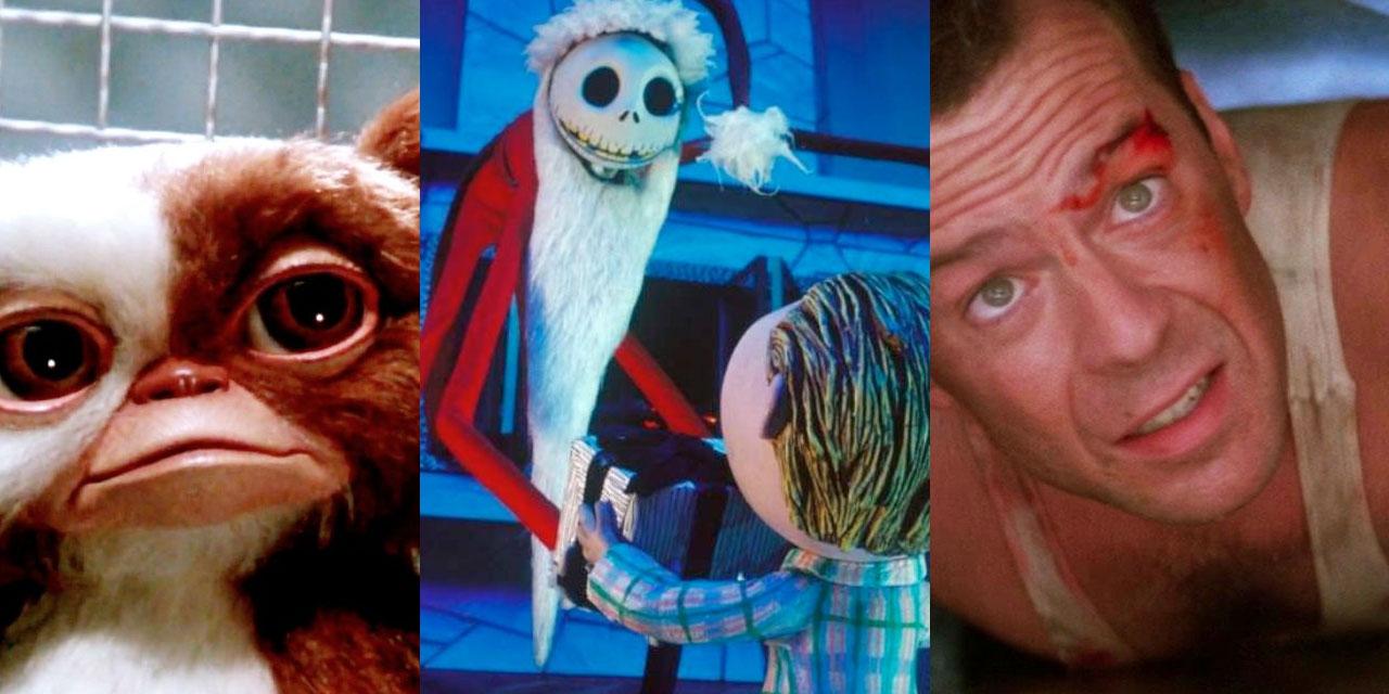 Filmausschnitte aus den 3 Klassikern Gremlins, Nightmare before Christmas und Die Hard