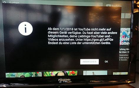 Youtube Hinweis auf Amazon-Gerät