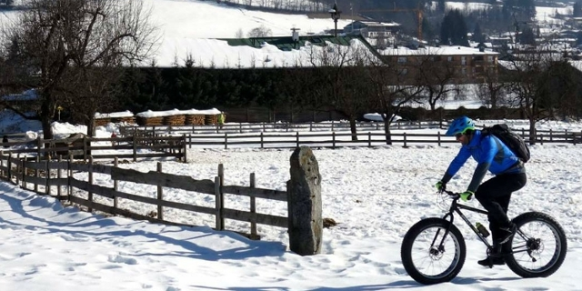 snow and a bike