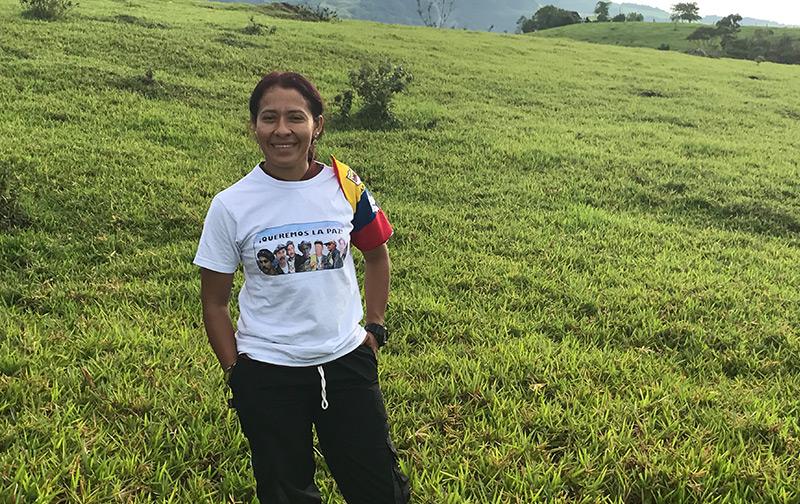 Eine demobilisierte FARC-Kämpferin in Kolumbien