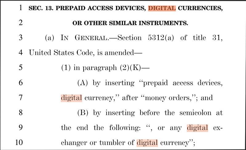 US-Gesetzesentwurf Bitcoins Screenshot
