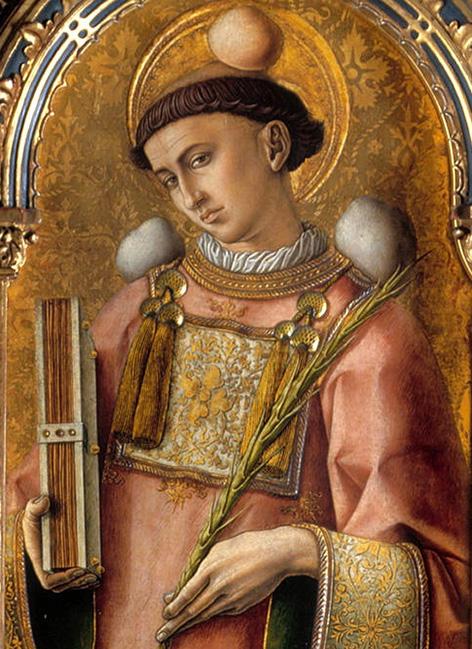 Heiliger Stephanus, Gemälde von Carlo Crivelli, Polittico del 1476