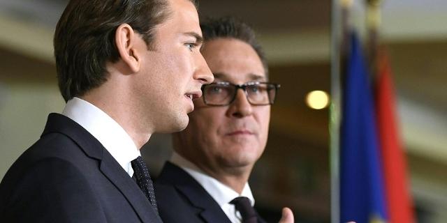 Sebastian Kurz und HC Strache bei der Verkündigung der Koalitionsvereinbarung