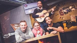 Cesar Sampson mit Gabi, Robart und Andi in der Ö3-Wunschütte