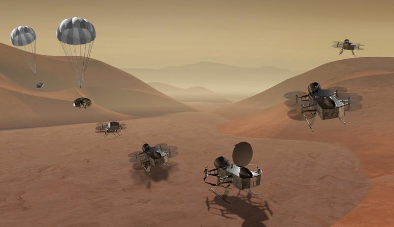 Künstlerische Darstellung Dragonfly (Dronen) landen auf Titan