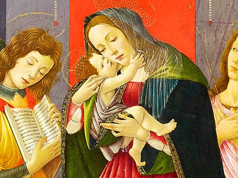 Sandro Botticelli (1445-1510): Madonna mit Kind, Johannes dem Täufer und Engel