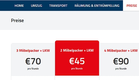 Screenshot Preisliste Möbelpacker Salzburg