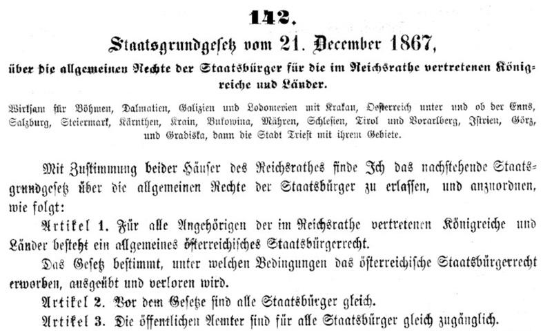 Faksimile des Original-Staatsgrundgesetzes von 1867