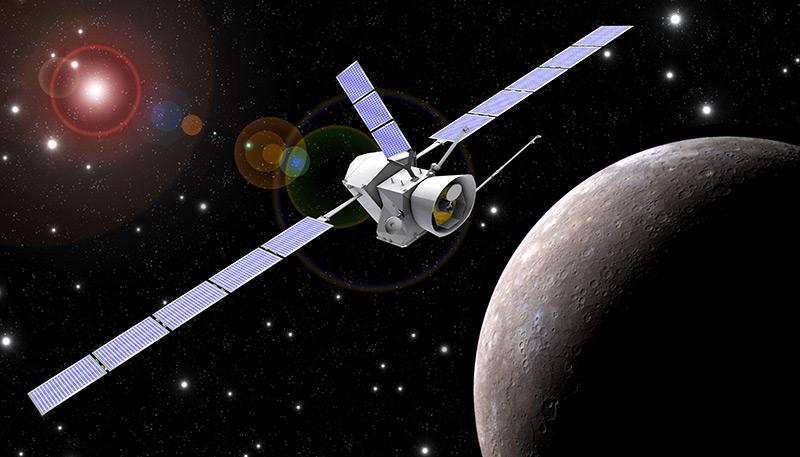 Raumsonde BepiColombo vor dem Planeten Merkur