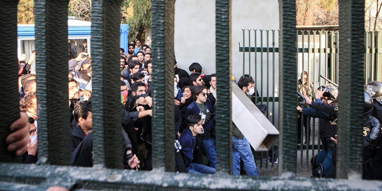 Proteste von Studierenden bei der Universität von Tehran am 30.12.2017