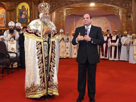 Kopten Papst Tawadros II empfängt ägyptischen Präsident al-Sisi
