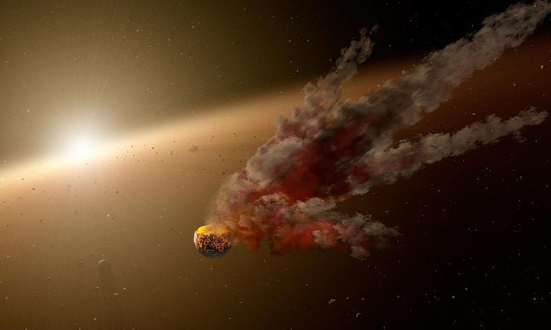 Künstlerische Darstellung einer der Flackervarianten: Ein zerbrechender Planet verdunkelt KIC 8462852